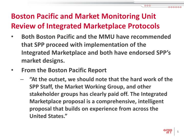Boston Pacific and Market Monitoring Unit Review of Integrated Marketplace Protocols