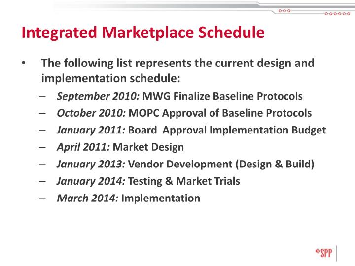 Integrated Marketplace Schedule