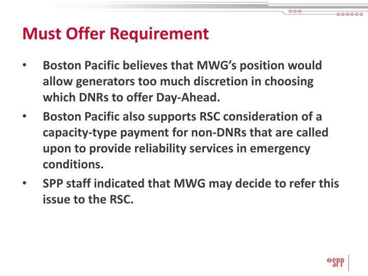 Must Offer Requirement