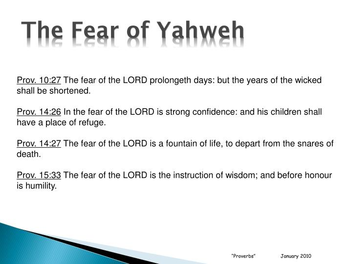 The Fear of Yahweh