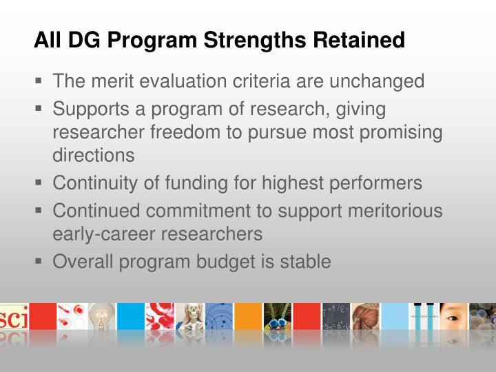 All DG Program Strengths Retained