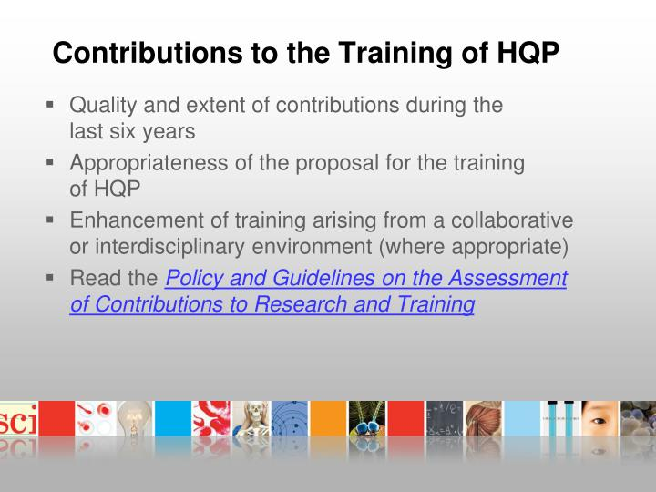 Contributions to the Training of HQP
