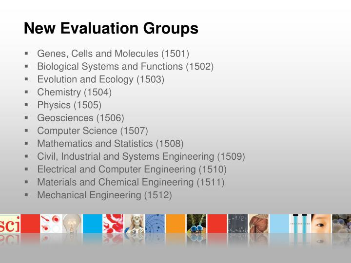 New Evaluation Groups