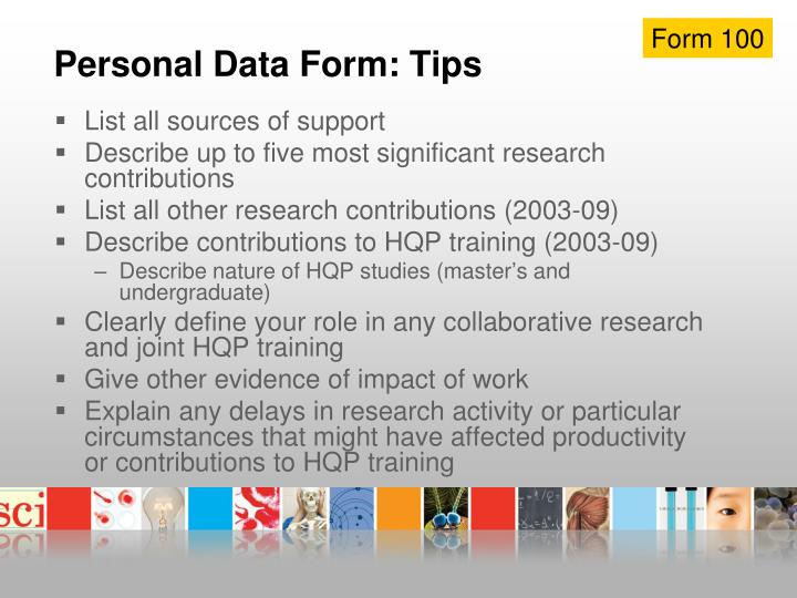 Personal Data Form: Tips