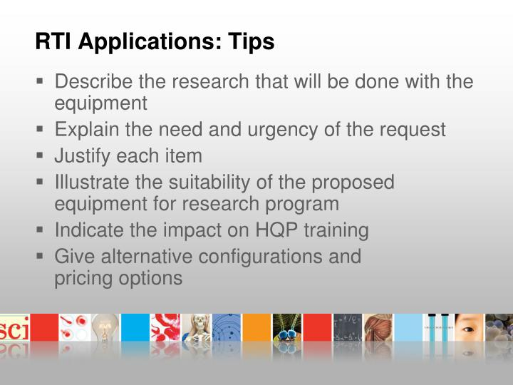 RTI Applications: Tips