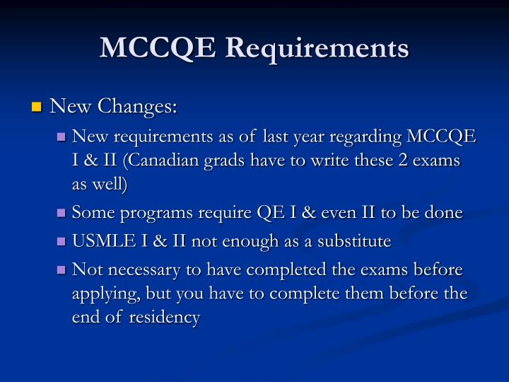 MCCQE Requirements