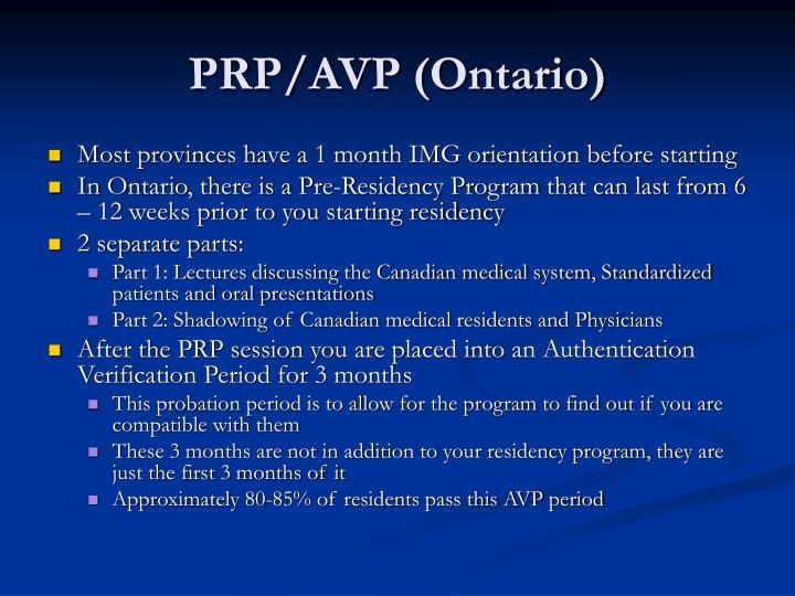 PRP/AVP (Ontario)