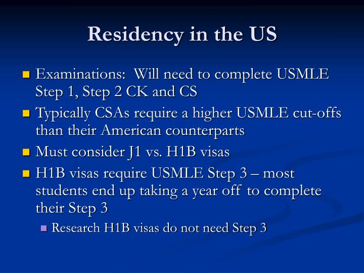 Residency in the US
