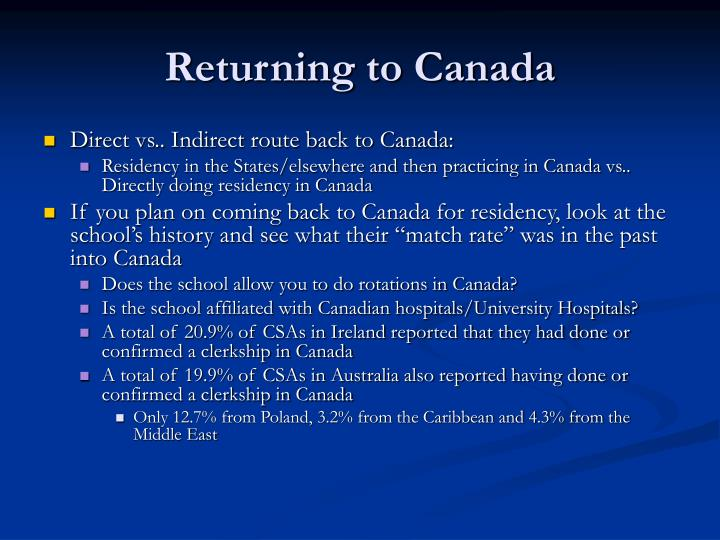 Returning to Canada