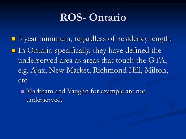 ROS- Ontario