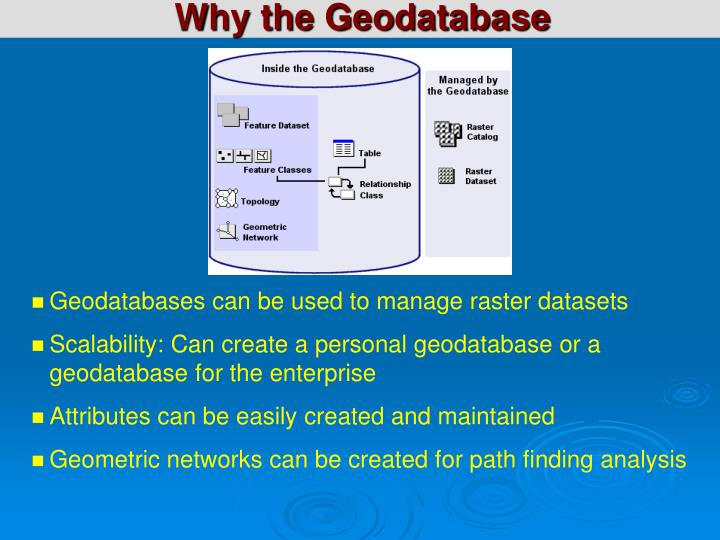 Why the Geodatabase