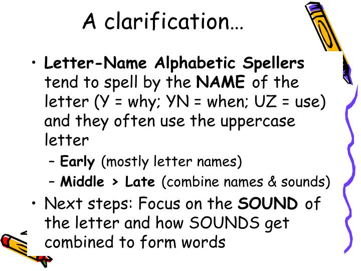 A clarification…
