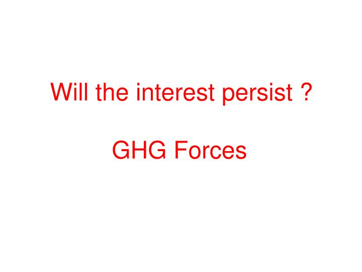 Will the interest persist ?