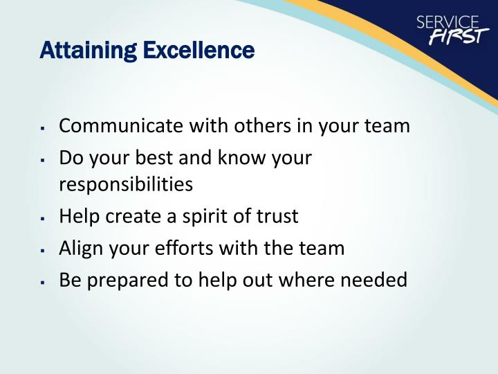Attaining Excellence