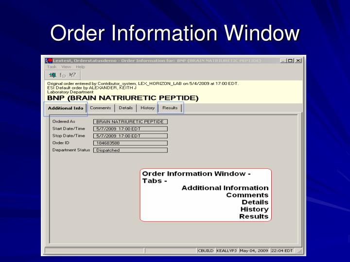 Order Information Window