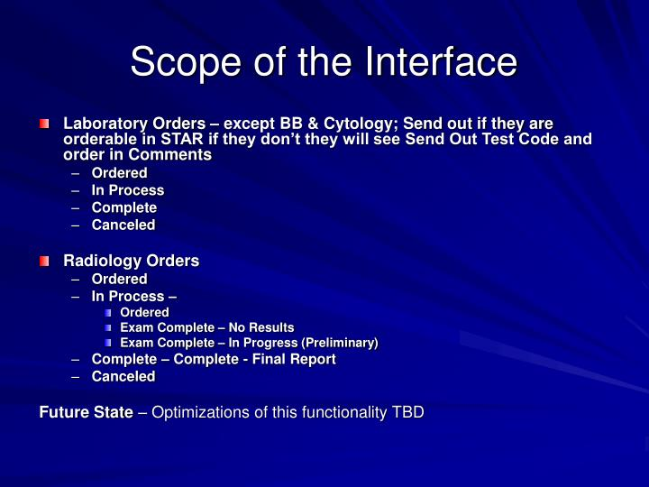 Scope of the interface