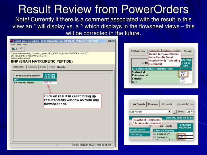 Result Review from PowerOrders