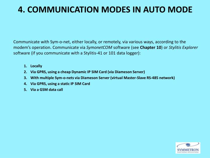 4. COMMUNICATION MODES IN AUTO MODE