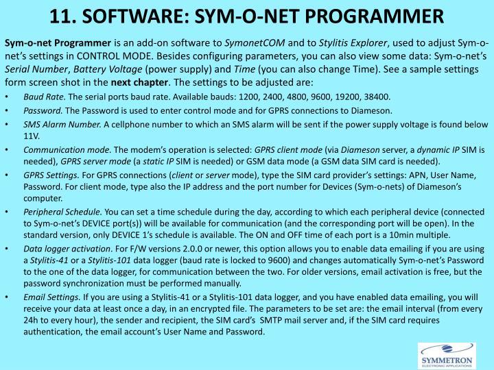 11. SOFTWARE: SYM-O-NET PROGRAMMER