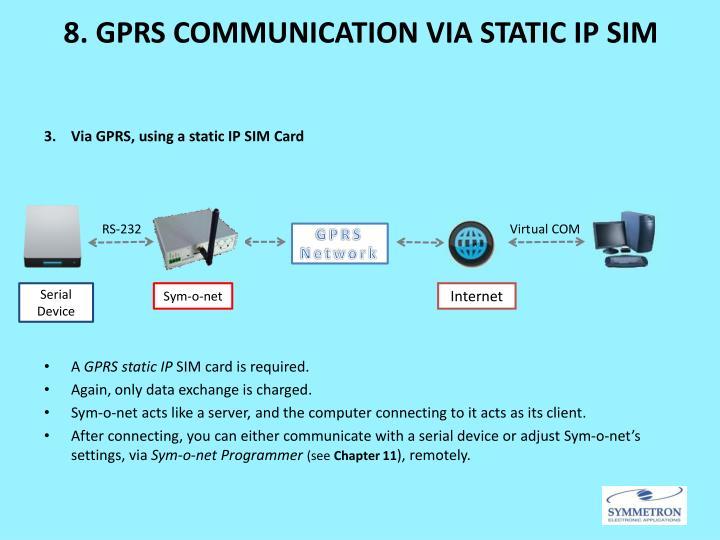 8. GPRS COMMUNICATION VIA STATIC IP SIM