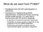 what do we want from p1800