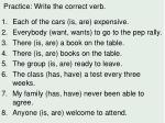 practice write the correct verb