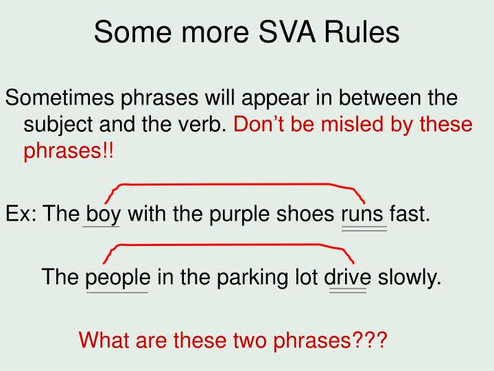 Some more SVA Rules