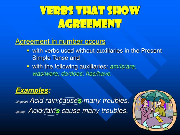Verbs that show agreement