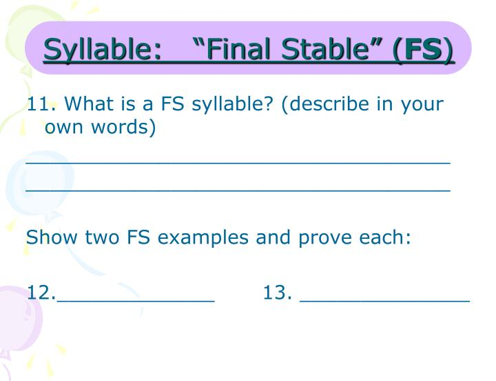 "Syllable:   ""Final Stable"" ("