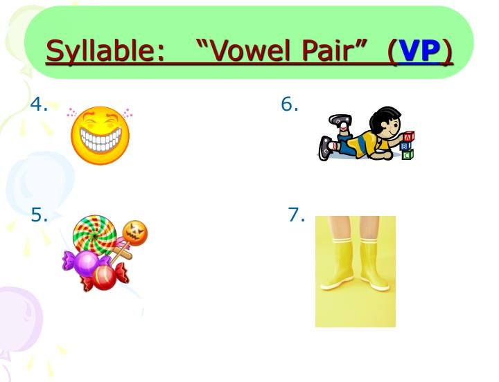 "Syllable:   ""Vowel Pair""  ("