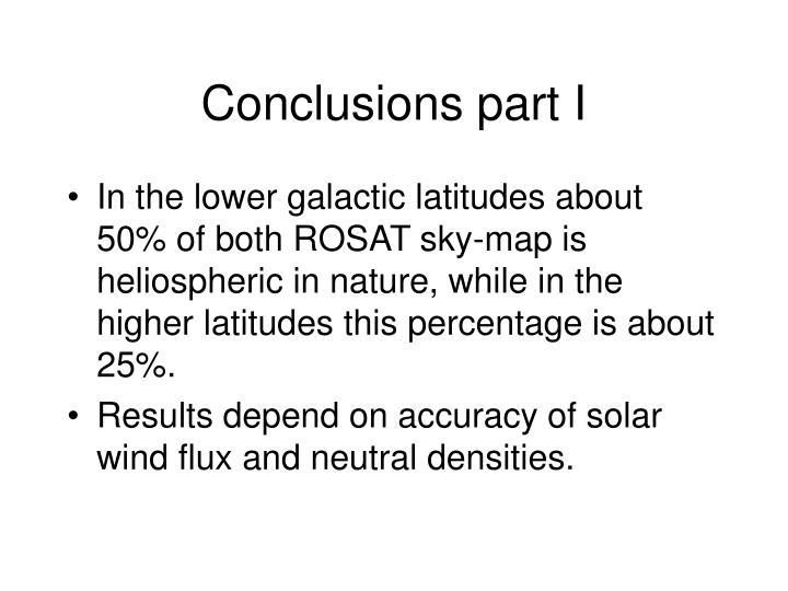 Conclusions part I