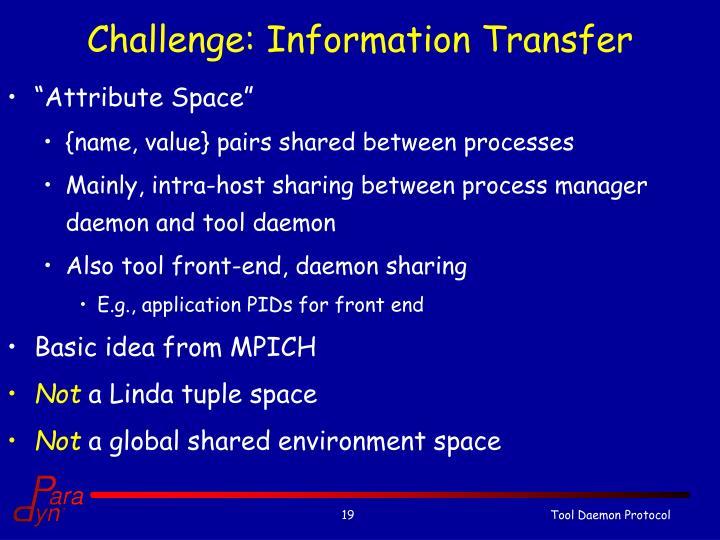 Challenge: Information Transfer