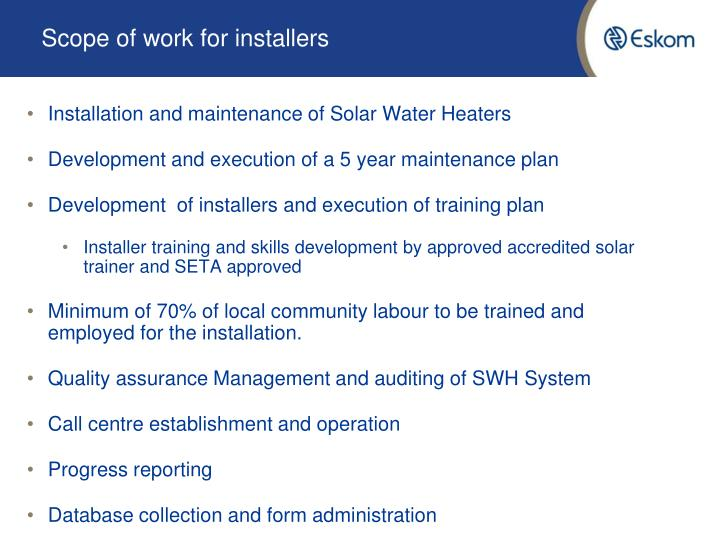 Scope of work for installers