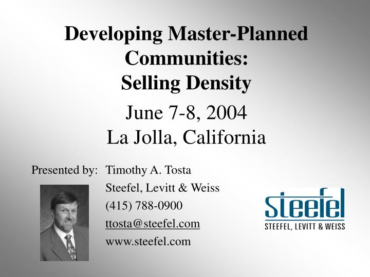 Developing Master-Planned Communities: