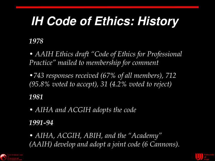IH Code of Ethics: History