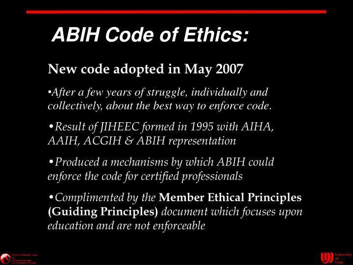 ABIH Code of Ethics: