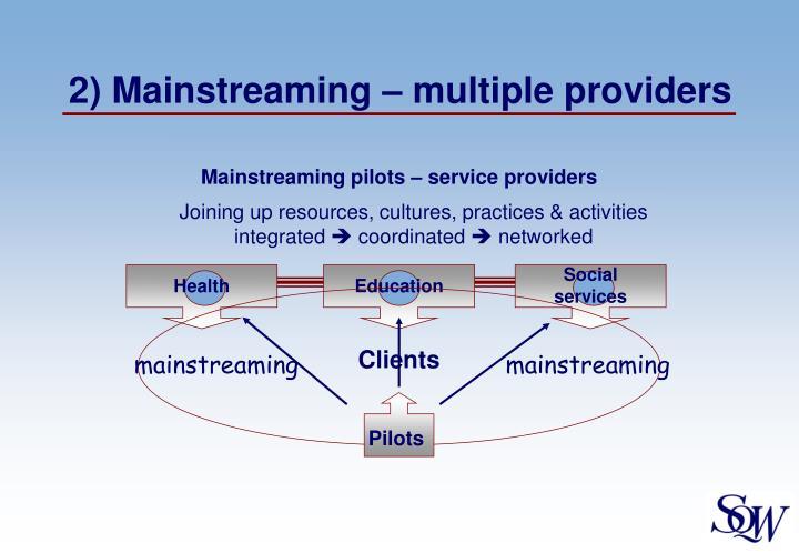 Mainstreaming pilots – service providers