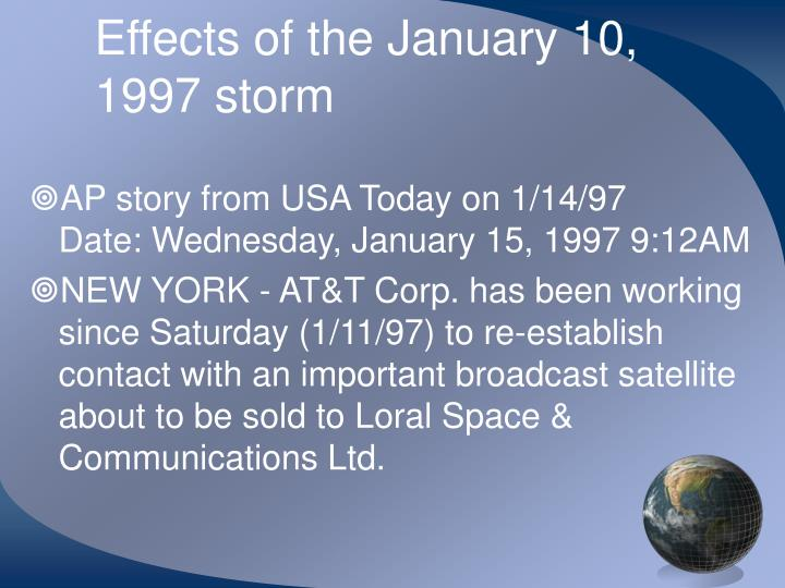 Effects of the January 10, 1997 storm