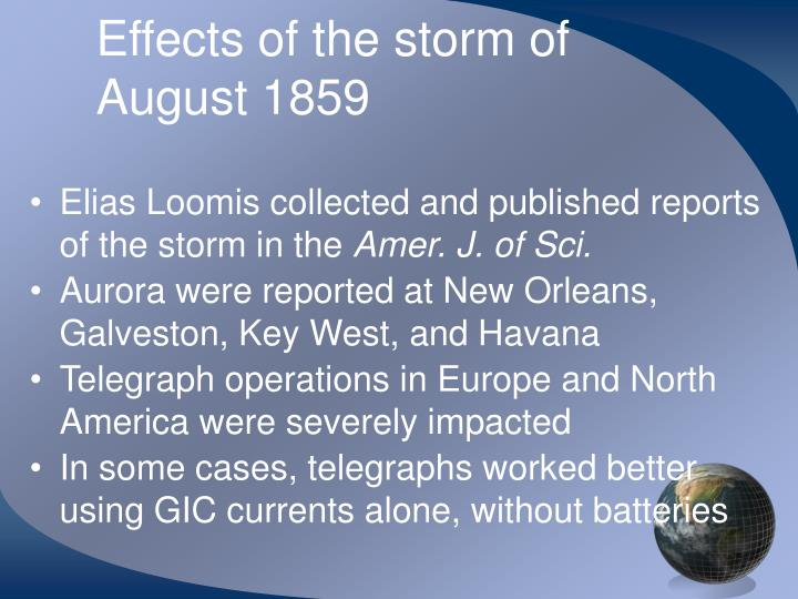 Effects of the storm of August 1859