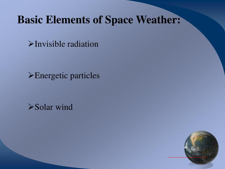 Basic Elements of Space Weather: