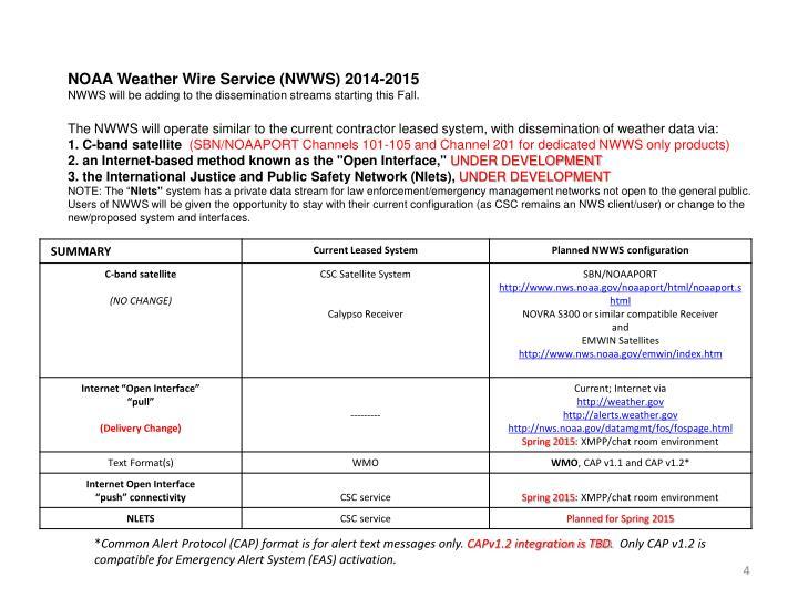 NOAA Weather Wire Service (NWWS) 2014-2015