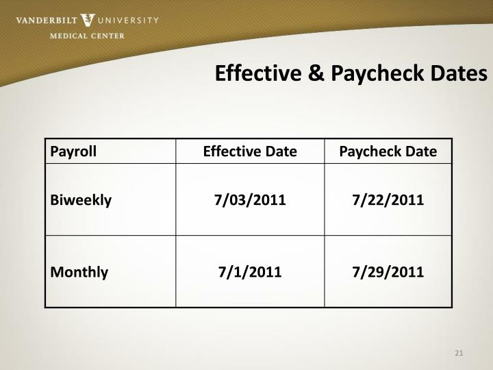 Effective & Paycheck Dates