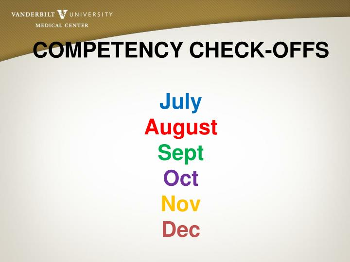 COMPETENCY CHECK-OFFS