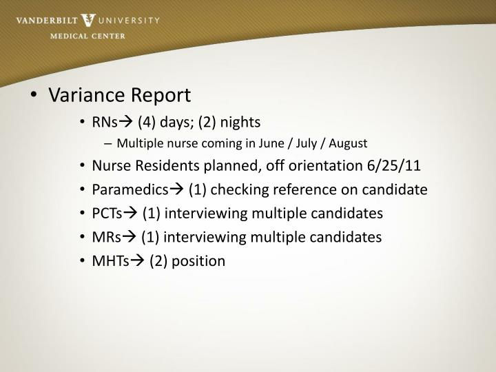 Variance Report