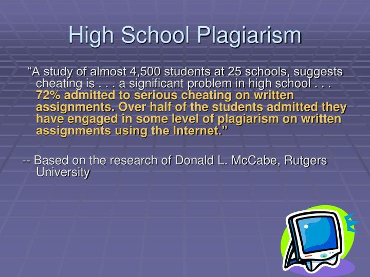 High School Plagiarism
