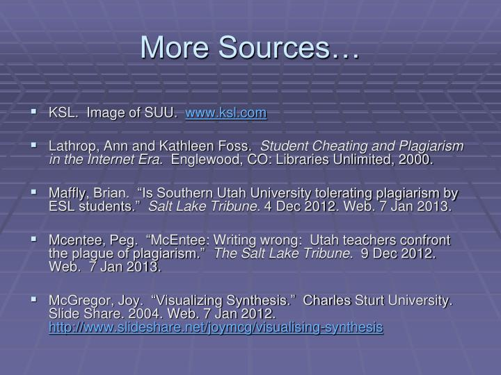 More Sources…