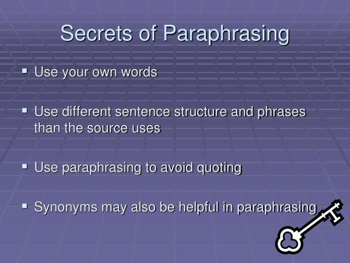 Secrets of Paraphrasing