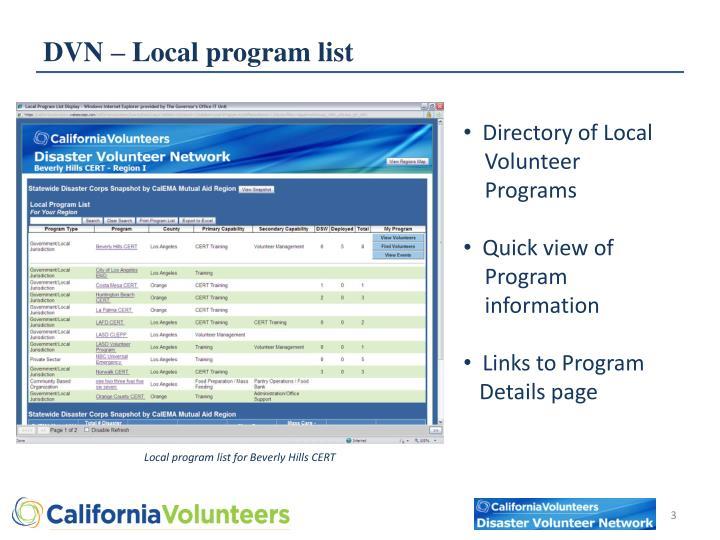 DVN – Local program list