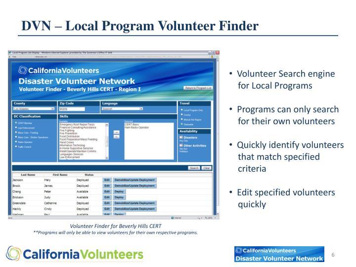 DVN – Local Program Volunteer Finder