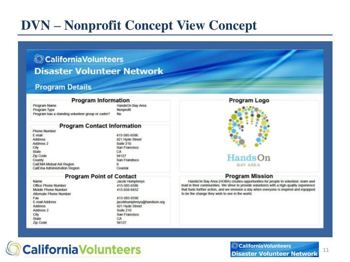 DVN – Nonprofit Concept View Concept